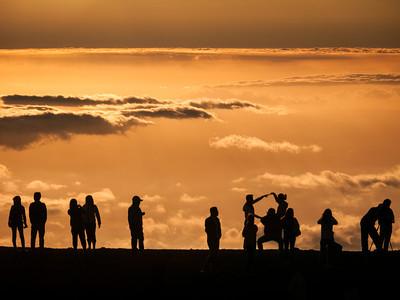 Sunset at Pu'u'ula'ula Summit and Haleakala Observatories in Haleakala National Park, Maui, HI.