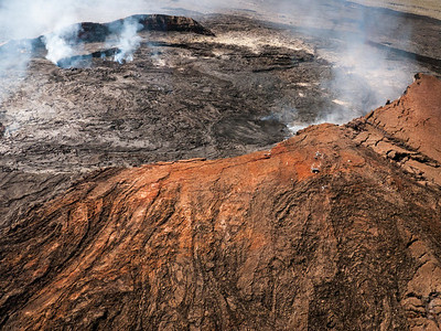 Pu'u 'O'o crater.  Blue Hawaiian Helicopters tour of Big Island volcanoes and waterfalls, from Waikoloa Heliport, Hawaii (Big Island), HI.